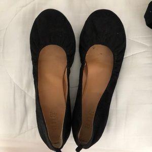 Black suede ballet flats